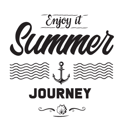 Summer journey emblems or logo badge with hand drawn calligraphy. Black vector lettering design for vacation tour on a white background. Typographic symbol with an anchor