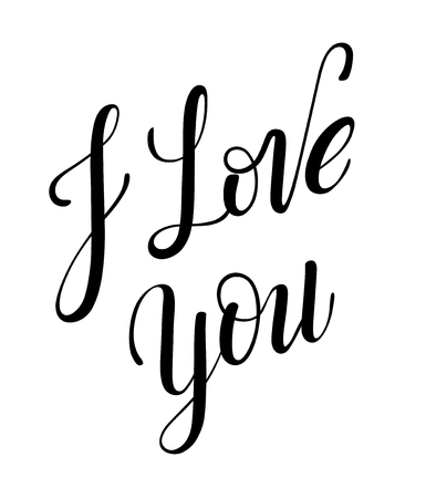 I love you calligraphy with little note. Vector lettering for greeting card or photo album. Calligraphic hand drawn font. Font composition 向量圖像