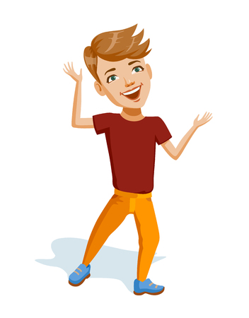 Llittle cheerful boy with blonde hair in bright clothes. European child laughs dance and plays an active game. He is wearing yellow pants and red t-shirt. Colorful illustration for Children's Day