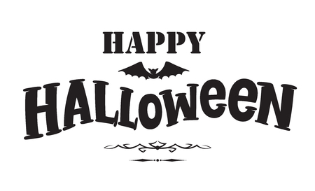 Happy Halloween emblem or logo badge hand drawn font. All Saints' Eve black vector lettering design for banners poster or t-shirt on a white background. Typographic symbol with bat