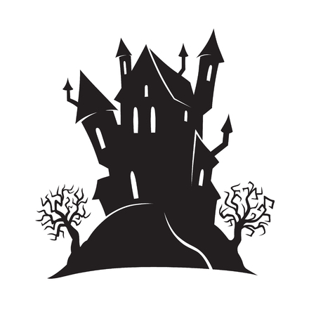 Halloween cartoon witch house on the hill and scary trees. All Saints' Eve black vector illustration for emblem or logo badge banner poster or t-shirt on a white background. Silhouette of a castle
