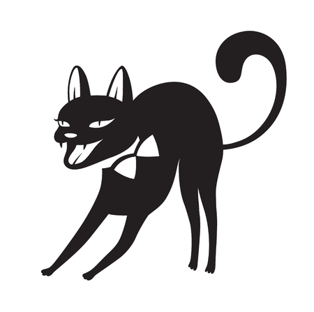Halloween cartoon cat character. All Saints' Eve black vector illustration for emblem or logo badge banner poster or t-shirt on a white background. Aggressive animal curved back and bared mouth 스톡 콘텐츠 - 127437400