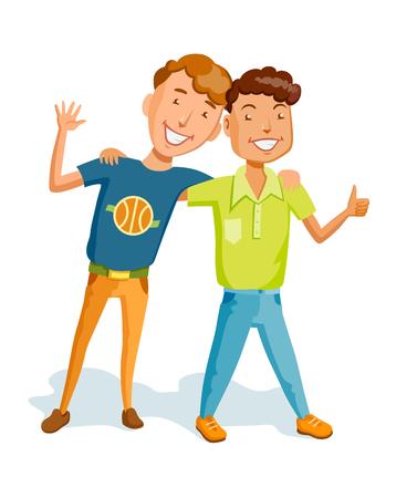 Abbracci di amici maschili gioiosi in stile piatto. Cartoon persone insieme e adulti stile di vita. Personaggi e coppia giovani uomini amichevoli. Sono vestiti con pantaloni e camicia. Diversi tipi di aspetto