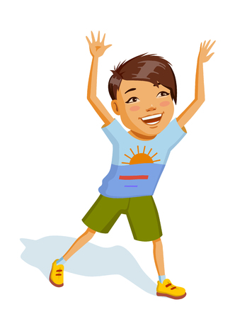 Llittle cheerful boy in bright clothes. Asian child laughs and plays an active game. He is wearing khaki shorts and colorful t-shirt. Colorful illustration for Children's Day Ilustração