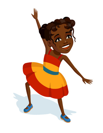 Llittle cheerful girl in bright colorful sundress. African child laughs dance and plays an active game. Colorful illustration for Children's Day