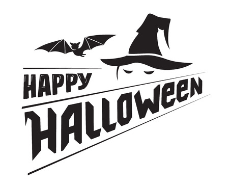 Happy Halloween emblem or logo badge hand drawn font. All Saints' Eve black vector lettering design for banners poster or t-shirt on a white background. Typographic symbol with bat and witch's hat Illustration