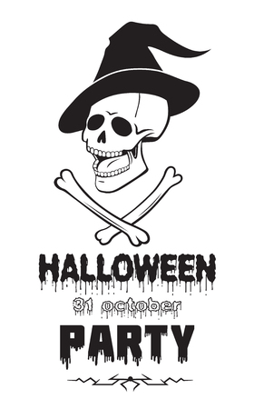 Halloween october thirty first party emblem or logo badge font. All Saints Eve black vector lettering design for banners poster or t-shirt on a white background. Scary angry skull witchs hat and bones Stock Illustratie