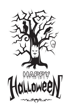 Happy Halloween emblem or logo badge font. All Saints Eve black vector lettering design for banners poster or t-shirt on a white background. Scary tree cat skull and raven illustrations