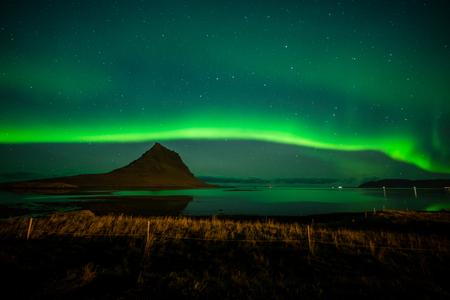 Beautiful Northern Lights over Kirkjufell, Iceland Stock Photo