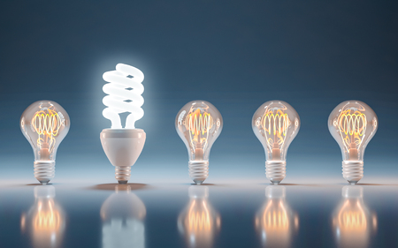 Incandescent and fluorescent energy saving light bulbs, innovation and solution 스톡 콘텐츠