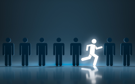 Stand out different concept. One glowing light man running among other people. 3d rendering