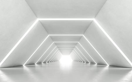 Diseño interior de pasillo iluminado. Renderizado 3D Foto de archivo