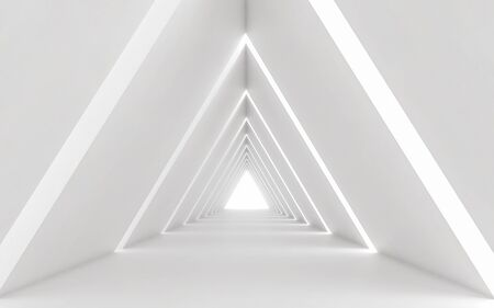 Abstract white triangle corridor, 3d rendering