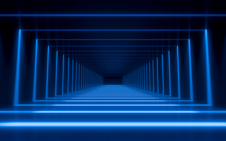 Abstract 3d corridor interior design with linear light. 3d rendering Stock Photo