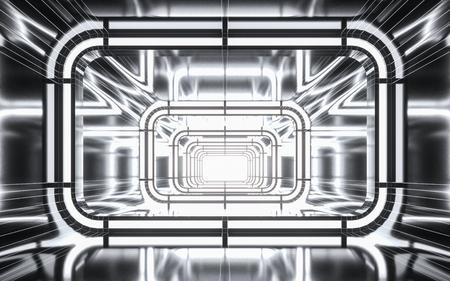 Illuminated corridor tunnel with light. 3d rendering