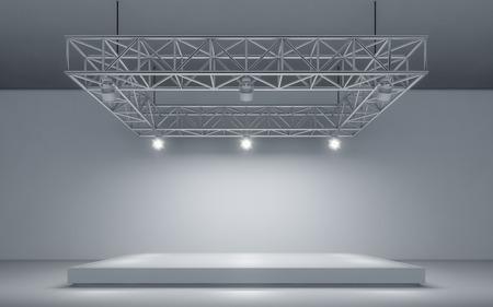 Fondo e lampada del riflettore con la fase. rendering 3d