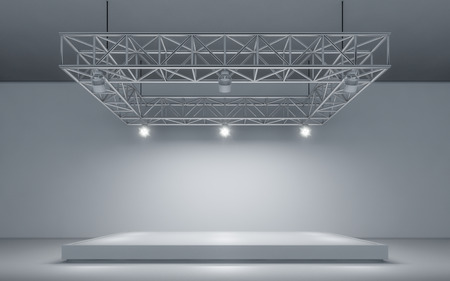 Spotlight background and lamp with stage. 3d rendering Standard-Bild