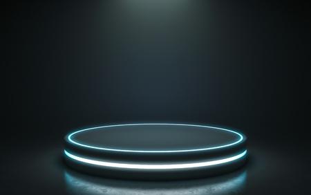 Futuristisches Podest zur Anzeige. Leeres Podium für Produkt. 3D-Rendering Standard-Bild