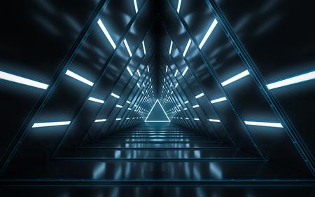 Abstract illuminated empty corridor interior design, Future concept. 3D rendering. Stock fotó