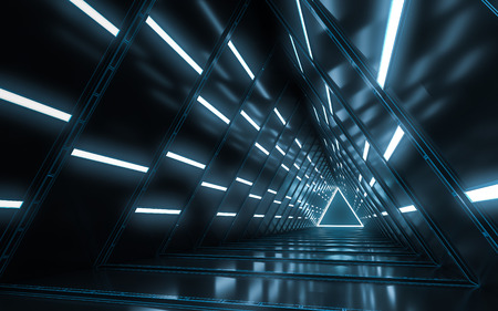 Abstract illuminated empty corridor interior design, Future concept. 3D rendering.