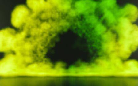 Colorful powder explosion on black background. Illustration