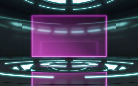 Modern background and empty stage. Future modern interior concept with violet screen. 3d rendering Zdjęcie Seryjne