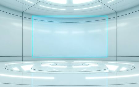 Modern background and empty stage. Future modern interior concept with blue screen. 3d rendering