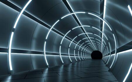 Illuminated corridor interior design. 3D rendering Zdjęcie Seryjne