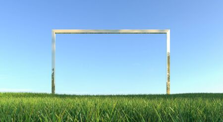 Green grass with frame and blue sky background. 3d rendering