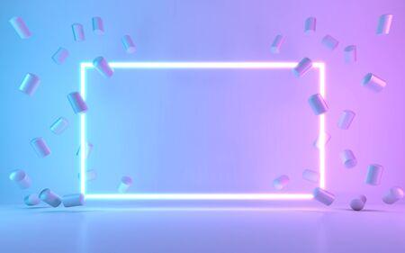 Neon frame sign with donut. 3d rendering Zdjęcie Seryjne
