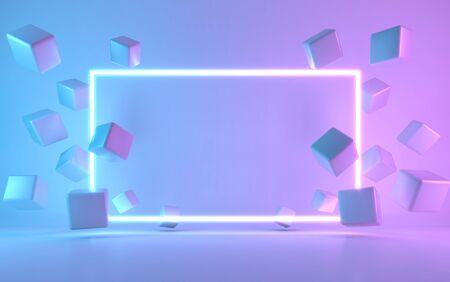 Neon frame sign with cube. 3d rendering Zdjęcie Seryjne