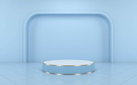 Blue podium minimal on blue color background for product. 3d rendering
