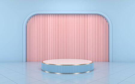 Blue podium minimal on blue color background and pink curtain for product. 3d rendering