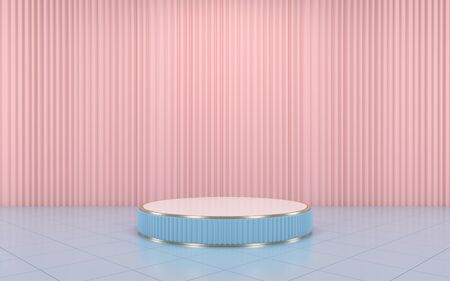 Blue podium minimal on pink curtain for product. 3d rendering