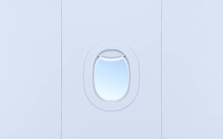 Airplane windows. Realistic aircraft portholes with sky. 3d rendering Reklamní fotografie
