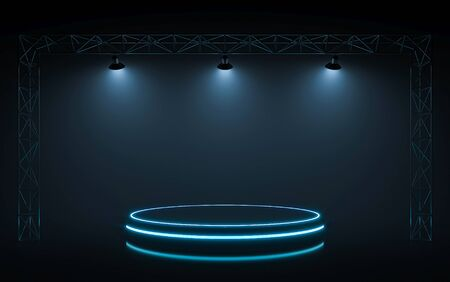 Neon stage with spotlight background. 3d rendering