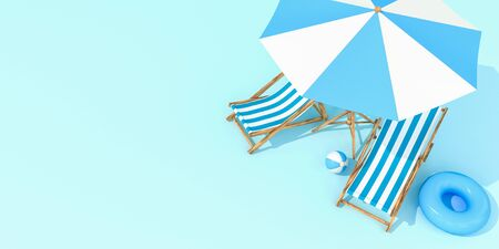 Beach umbrella with chairs on pastel colors background. Minimalism concept. 3d rendering