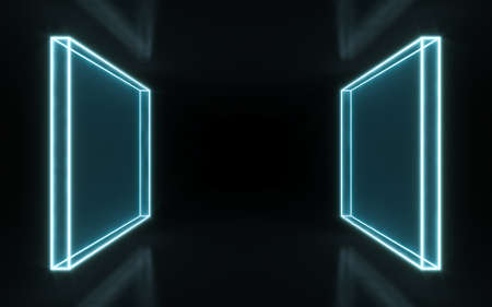 Neon frame sign in the shape of a rectangle. 3d illustration
