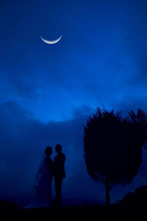 Bride and Groom in blue night Stock Photo - 2981514
