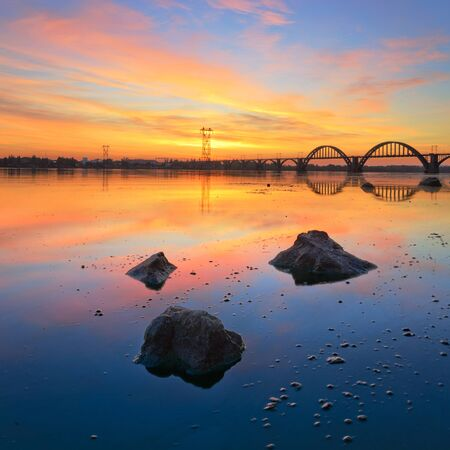 dnieper: Majestic Sunrise on the Dnieper. Dnipropetrovsk, Ukraine