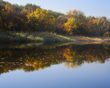 reveille: reflected in the river shore autumn morning