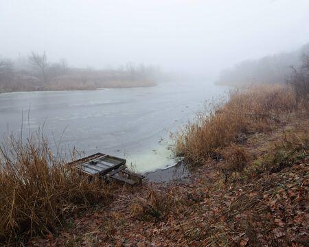 mornings: beauty mornings fog over the mystic river