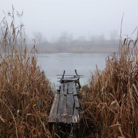 mornings: beauty mornings fog over the mystic bridge Stock Photo