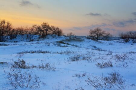 sheltered: beautiful winter field sheltered snow at sunset
