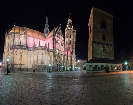 elisabeth: Kosice, Slovakia - april 11, 2015: The St. Elisabeth Cathedral at night is a Gothic cathedral april, in November 2015 in Kosice, Slovakia.