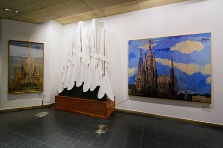 high priest: BARCELONA SPAIN - September 23, 2014: Layout of La Sagrada Familia, the cathedral designed by Gaudi, which is being build since 19 March 1882 with the donations of people, on September 23, 2014 in Barcelona Spain Editorial