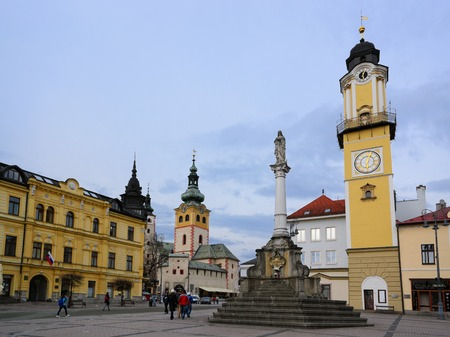 apartment tower old town: BANSKA BYSTRICA - April 13: Town square in Banska Bystrica, Slovakia on April 13, 2015. It is a city in central Slovakia with 78 327 inhabitants.