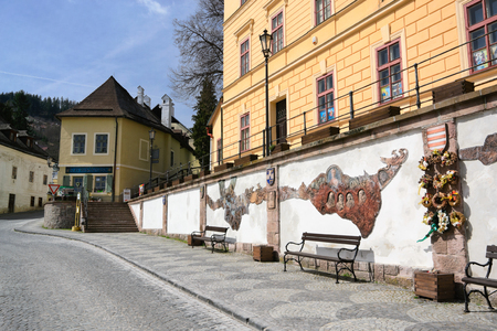 old town guildhall: Banska Stiavnica, Slovakia - April 14: Banska Stiavnica - town-hall church on April 14, 2015 in Banska Stiavnica, Slovakia.  Mining town Banska Stiavnica is one of the most interesting towns in Slovakia and it is inscribed in UNESCO list.