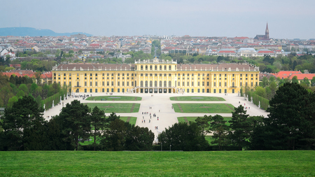 habsburg: Vienna, Austria - April 17, 2015: Schonbrunn Palace in Vienna on April 17, 2015. Schonbrunn Palace is a former imperial summer residence of Habsburg family.