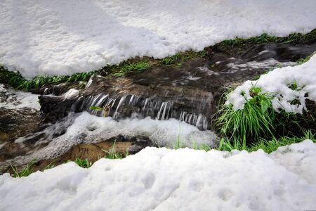 Frozen creek. Beautiful natural spring background. Ukraine